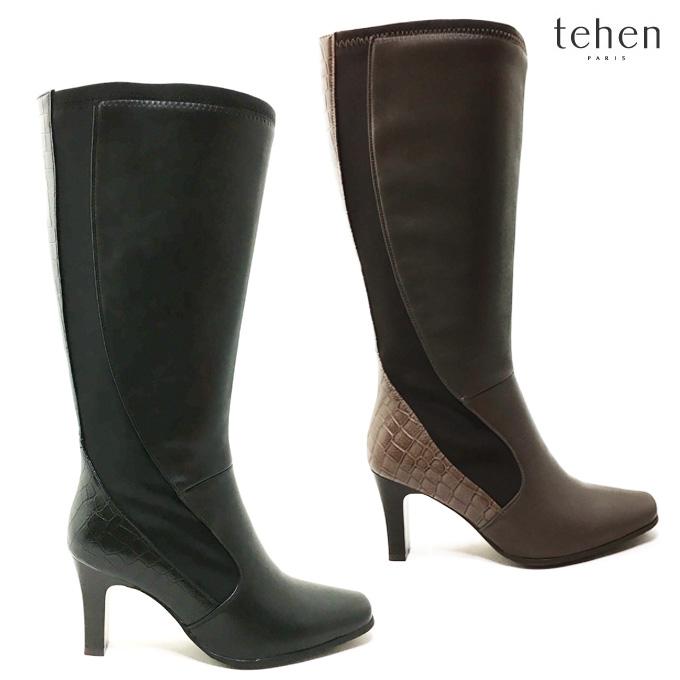 tehen テーン TN1633レディース ロングブーツ ヒール 防寒 靴 シューズ ファスナー 防滑 女性 婦人 マドラス madras