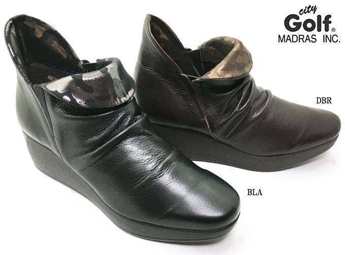 madras City Golf GFL5216 マドラス シティゴルフレディース ショートブーツ 靴 シューズ 天然皮革 本革 ソフト革 ウェッジソール 幅広 3E 日本製 女性 婦人