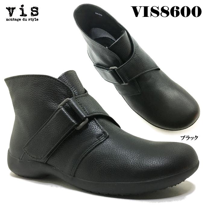 vis ビス VIS8600 レディース ショートブーツ カジュアル フェミニン パンプス 本革 天然皮革 靴 秋冬 オブリックトゥ 防寒 面ファスナー ベルトデザイン フラットソール 女性 婦人