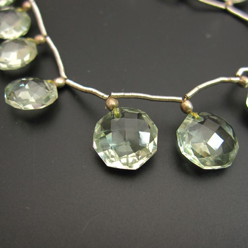 宝石質グリーンアメジストAAAコインカットビーズ直径約8~11mm 一連売り(13粒) 石の蔵