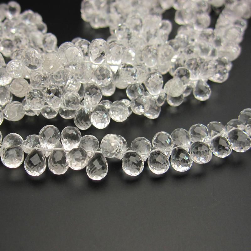 水晶AAAドロップカットビーズ約5×8mm 一連売り(72ー76粒) 石の蔵