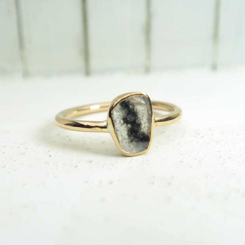 スライスダイヤモンド K10(10金)ゴールド リング 指輪 13号 インドジュエリー 石の蔵