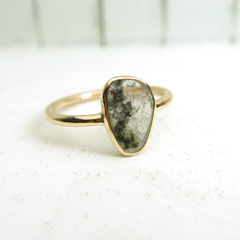 スライスダイヤモンド K10(10金)ゴールド リング 指輪 12号 インドジュエリー 石の蔵