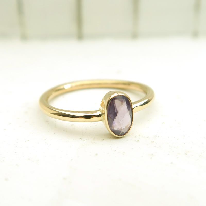 パープルサファイア K10(10金)ゴールド リング 指輪 9号 インドジュエリー 石の蔵