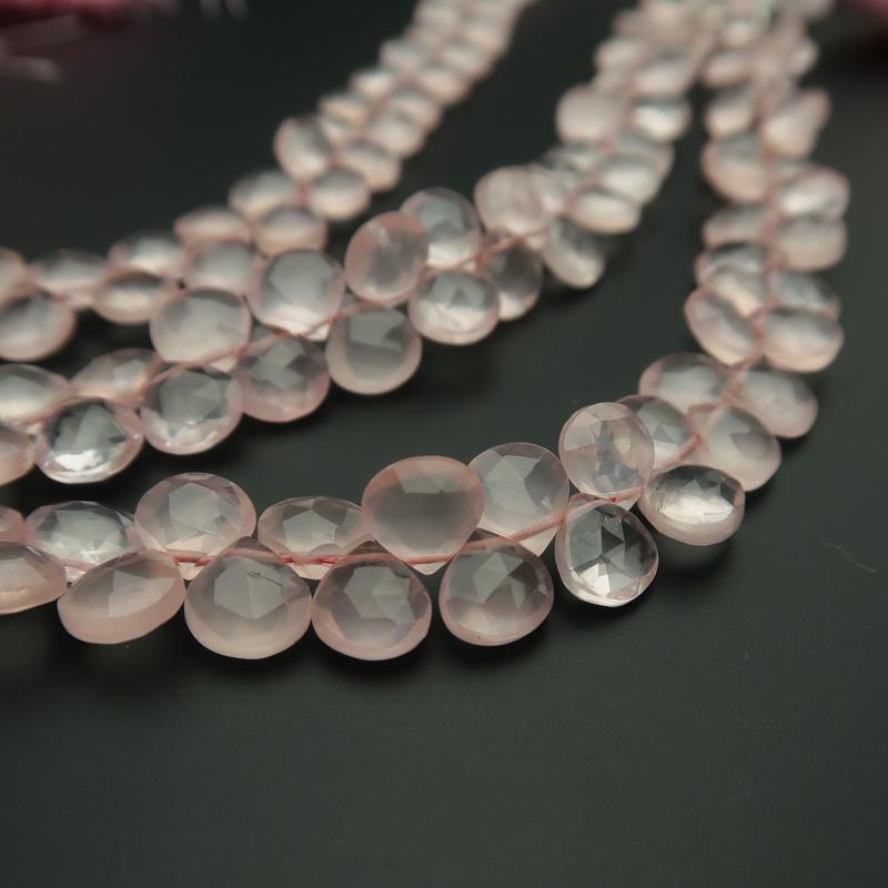 [10%引クーポン配布中]宝石質ローズクォーツAAA平マロンカットビーズ約7.5×7.5mm 一連売り(48ー50粒)