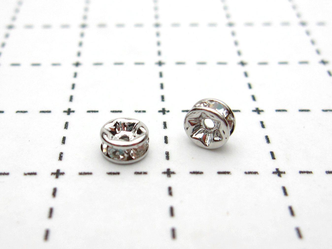 ロンデル パーツ 副資材 ハンドメイド 手づくり  パーツ ロンデル ロジウム4mm(クリスタル) 1ヶ売り 石の蔵