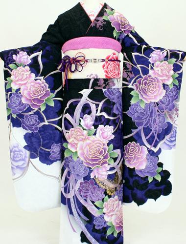 【レンタル】成人式 振袖 レンタル K6217黒紫暈し大輪花(成人式 結婚式 結納 お呼ばれ 振袖フルセット)
