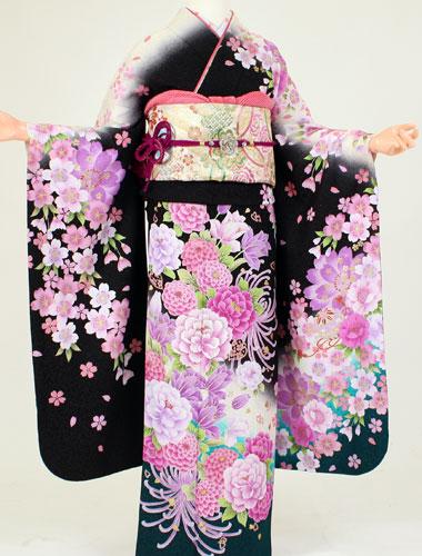 【レンタル】成人式 衣装 レンタル K6182白黒暈し桜大牡丹(成人式 結婚式 結納 お呼ばれ 振袖フルセット)
