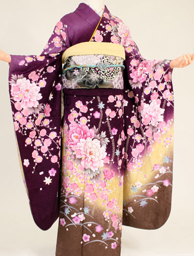 【レンタル】【成人式 振袖 レンタル】K4114アトリエサブ紫地裾茶しだれ桜(成人式 結婚式 結納 お呼ばれ 振袖フルセット)