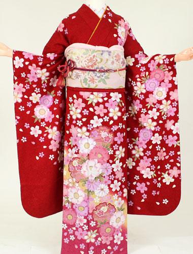 【レンタル】【成人式 振袖 レンタル】K4146赤牡丹桜(成人式 結婚式 結納 お呼ばれ 振袖フルセット)