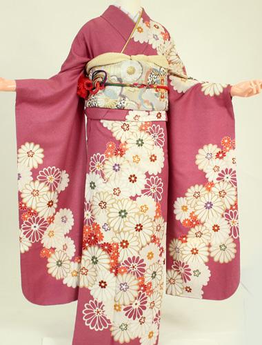 【レンタル】【振袖レンタル】k2167古典桃色菊花(成人式 結婚式 結納 お呼ばれ 振袖フルセット)