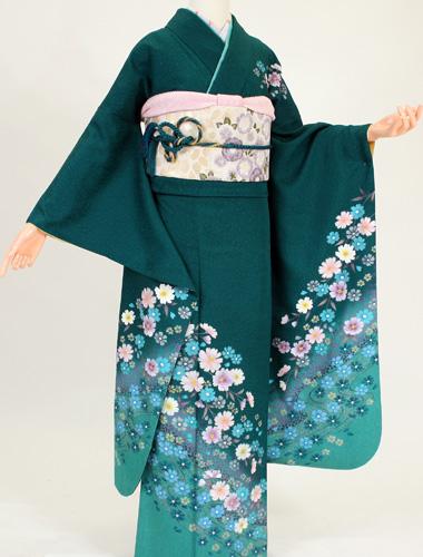 【レンタル】【振袖レンタル】K2195深緑ピンク油絵(成人式 結婚式 結納 お呼ばれ 振袖フルセット)
