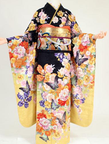 【レンタル】【振袖 レンタル】K8158黒ラメ黄色蝶(成人式 結婚式 結納 お呼ばれ 振袖フルセット)