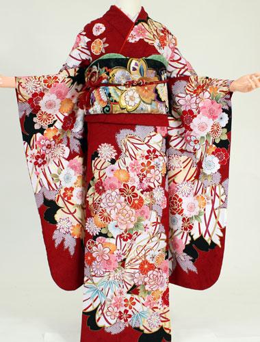 【レンタル】【振袖 レンタル】K8172マーベラス古典赤(成人式 結婚式 結納 お呼ばれ 振袖フルセット)