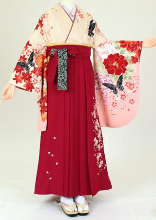【レンタル】【着物 袴レンタル】S103/H101九重クリーム地アゲハ/濃ピンク桜(卒業式 袴セット 女)