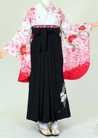 【レンタル】【着物 袴レンタル】S116/H065白地ピンク花盛り/緑薔薇刺繍(卒業式 袴セット 女)