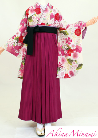 【レンタル】【着物 袴レンタル】S117/H117アッキーナ桃桜松/紫ストライプ(卒業式 袴セット 女)
