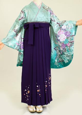 【レンタル】【着物・袴セット レンタル】S123/H035コバルトラメ地バラ箔/明紫桜刺繍(卒業式 女)