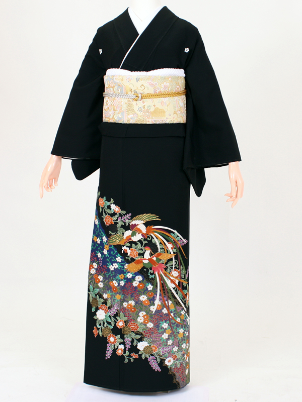 【留袖 レンタル 結婚式 着物】TC008 草花々鳳凰 黒留袖 貸衣装 留袖セット 女性和服 とめそで