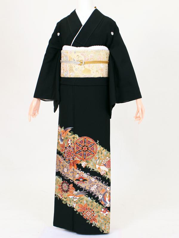 【留袖 レンタル 結婚式 着物】TC011 ベージュ斜花鳳凰 黒留袖 貸衣装 留袖セット 女性和服 とめそで