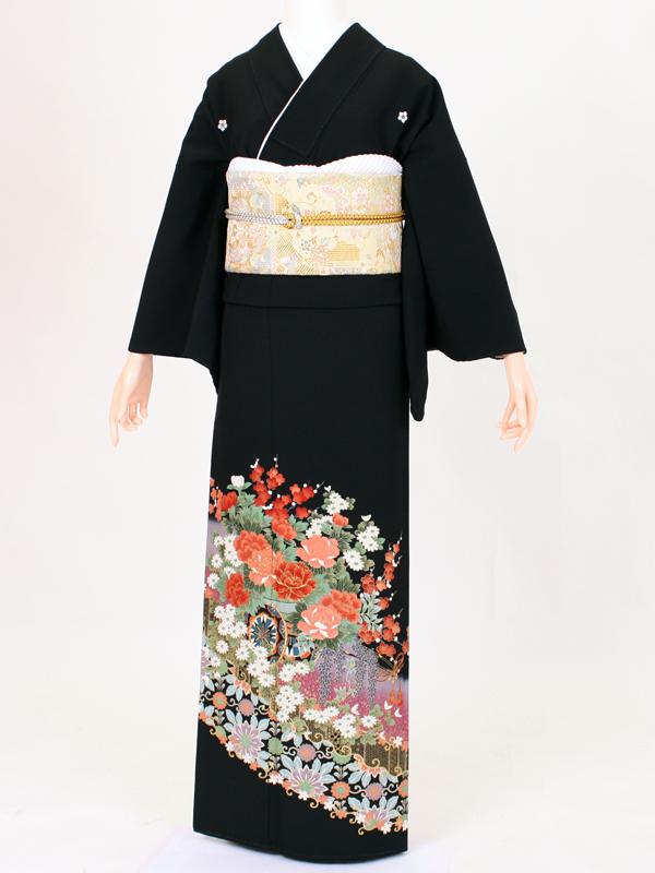 【留袖 レンタル 結婚式 着物】 TC012 紫流れ花車 黒留袖 貸衣装 留袖セット 女性和服 とめそで