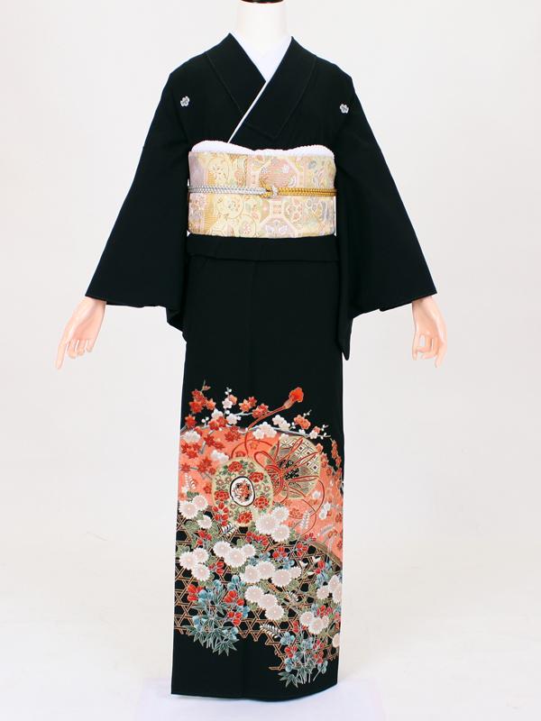 【留袖 レンタル 結婚式 着物】TC013 竹籠ピンク大鼓 黒留袖 貸衣装 留袖セット 女性和服 とめそで