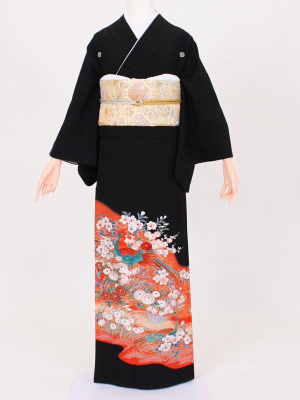 【留袖 レンタル 結婚式 着物】TC016 朱花々孔雀 黒留袖 貸衣装 留袖セット 女性和服 とめそで