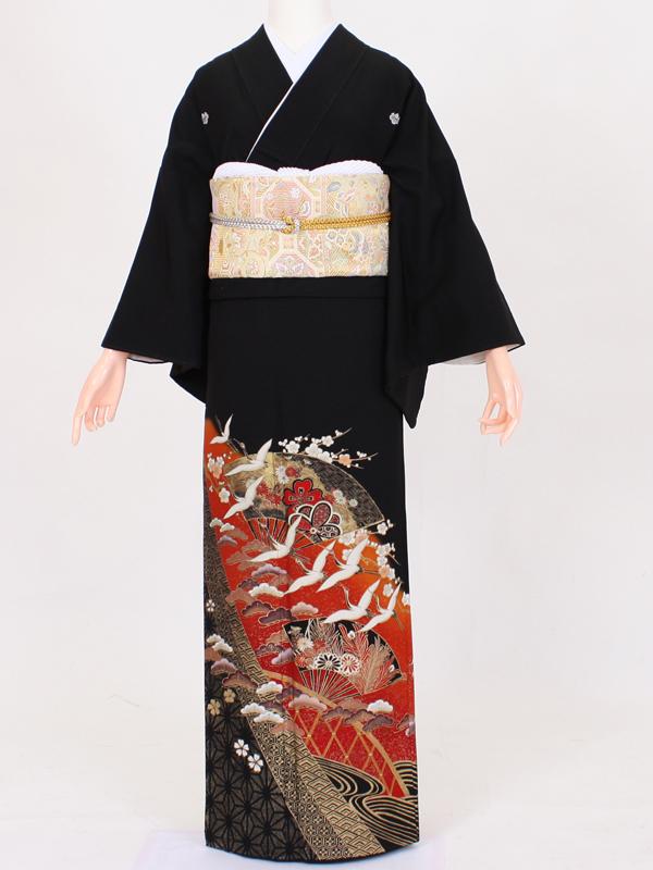 【留袖 レンタル 結婚式 着物】TC018 朱扇面飛鶴 黒留袖 貸衣装 留袖セット 女性和服 とめそで
