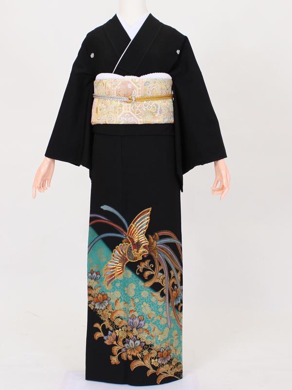 【留袖 レンタル 結婚式 着物】TC019 コバルト金彩大鳳凰 黒留袖 貸衣装 留袖セット 女性和服 とめそで