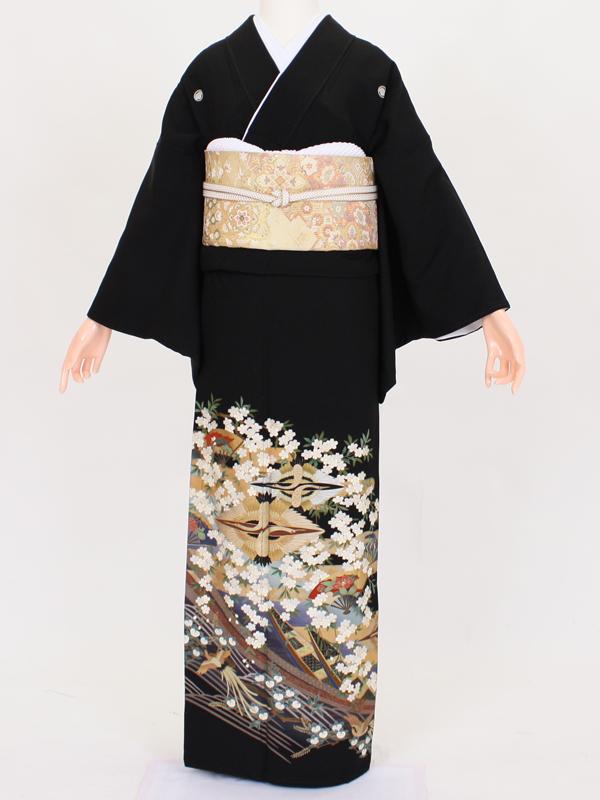 【留袖 レンタル 結婚式 着物】TC022 金雲取り桜盛り 黒留袖 貸衣装 留袖セット 女性和服 とめそで
