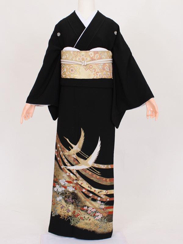 【留袖 レンタル 結婚式 着物】 TC023 大熨斗目飛鶴 黒留袖 貸衣装 留袖セット 女性和服 とめそで