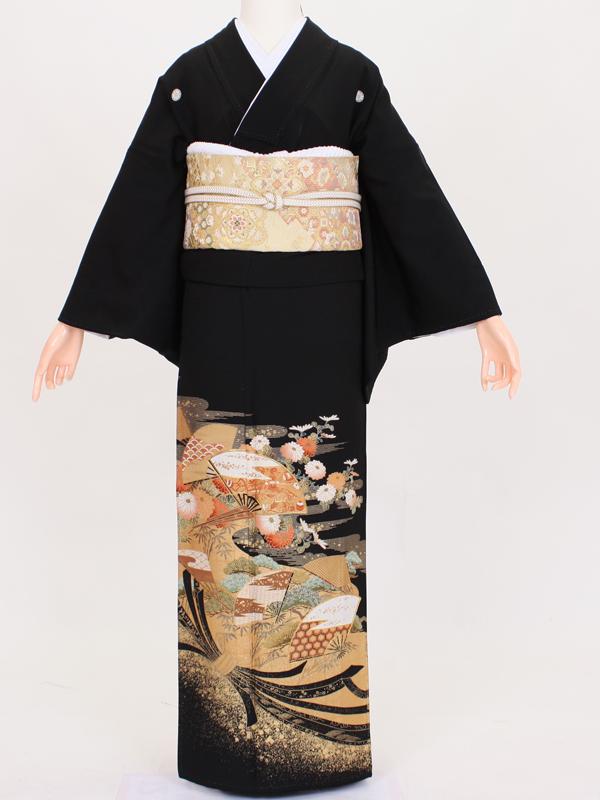 【留袖 レンタル 結婚式 着物】 TC033 金彩熨斗目おしどり 黒留袖 貸衣装 留袖セット 女性和服 とめそで