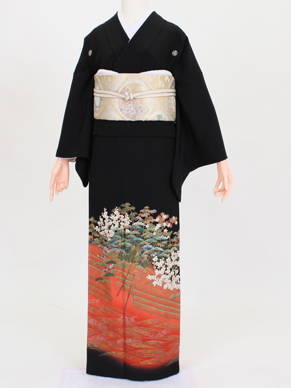 【留袖 レンタル 結婚式 着物】 TC041 朱大名行列 黒留袖 貸衣装 留袖セット 女性和服 とめそで