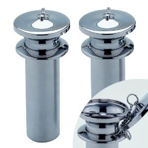 ステンレス製 お墓用花立 1対2本セット 筒径:59mm(L) フタ付 中入れ式ツバ付 さくら