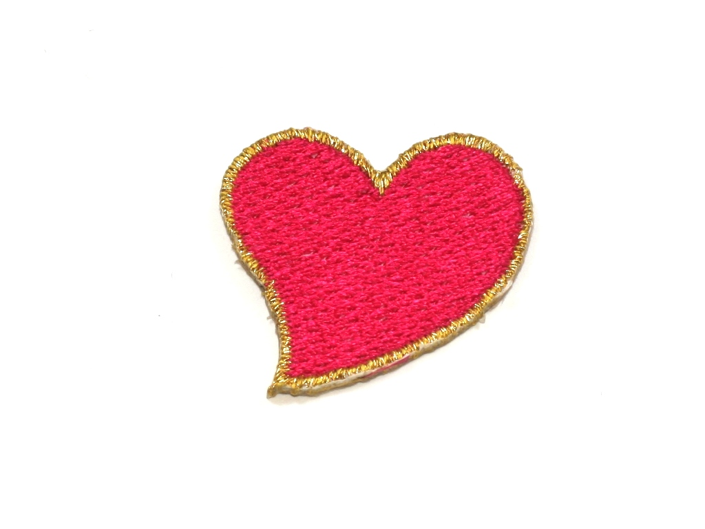 Maroon red heart with eyes iron on applique patch inches