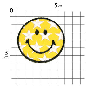 Ironing adhesive type ☆ ☆! Embroidered patch star-smile ♪ (large)