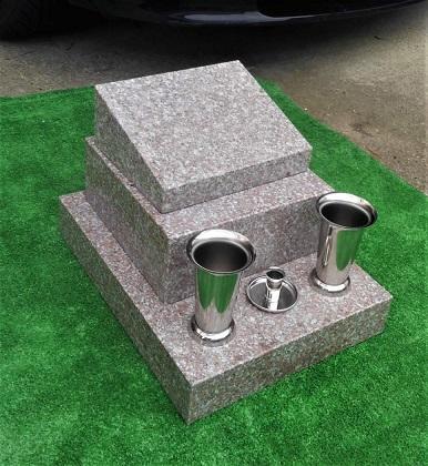 一人で組み立てられる!!ピンク御影石『桜石』石碑一式(小)文字彫入れ、ステンレス金具、設置用資材全て込み。犬/猫/位牌/ペット墓石/石碑 墓石 墓 格安墓 石