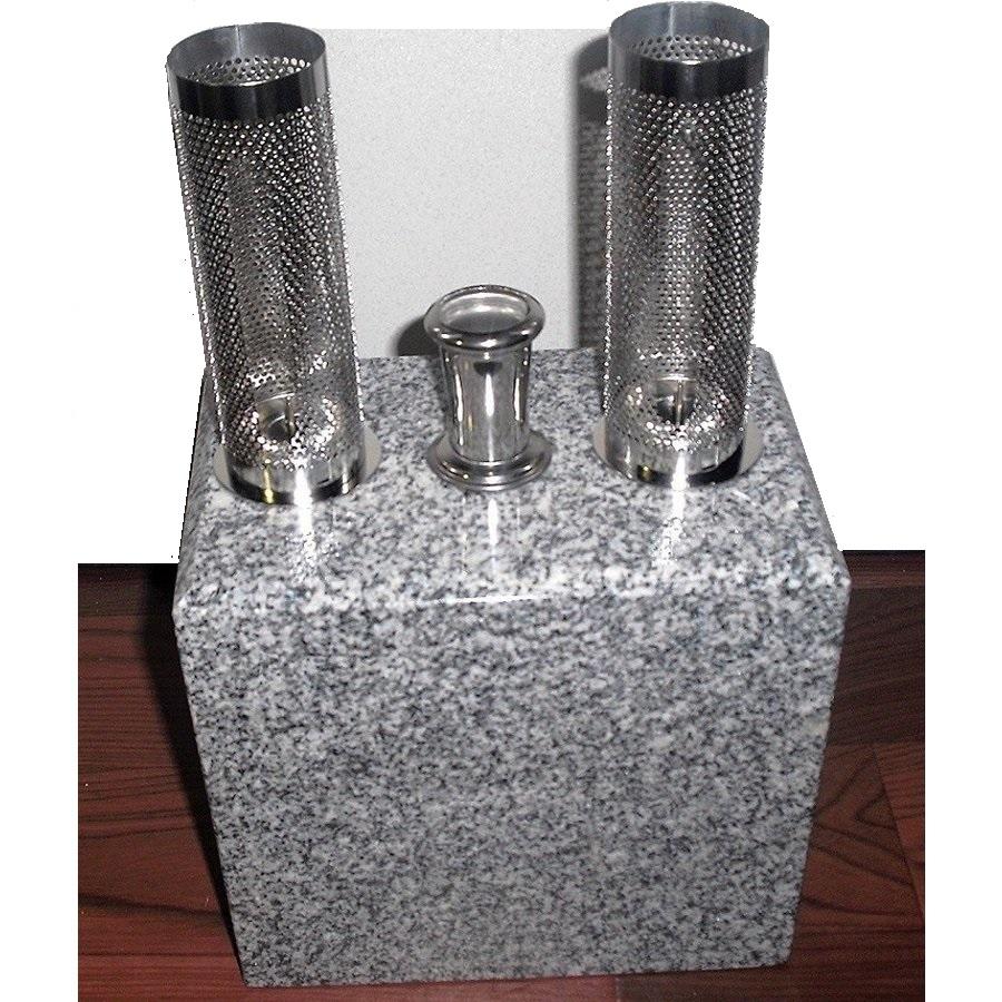 お墓 香炉 ロウソク立 線香立 青御影石 31cm×18cm×12cm 設置用資材付属墓用品 ローソク立て 香炉 ろうそく立て