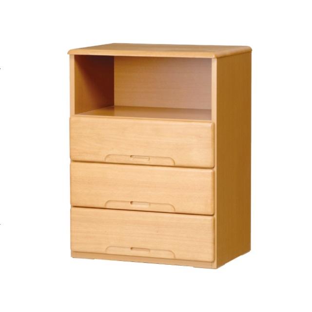<送料無料>介護施設病院ベット周りに便利な低価格3段引出し木製チェストCare-chest[病院 介護 福祉]病室ベッド周り収納木製チェスト完成品