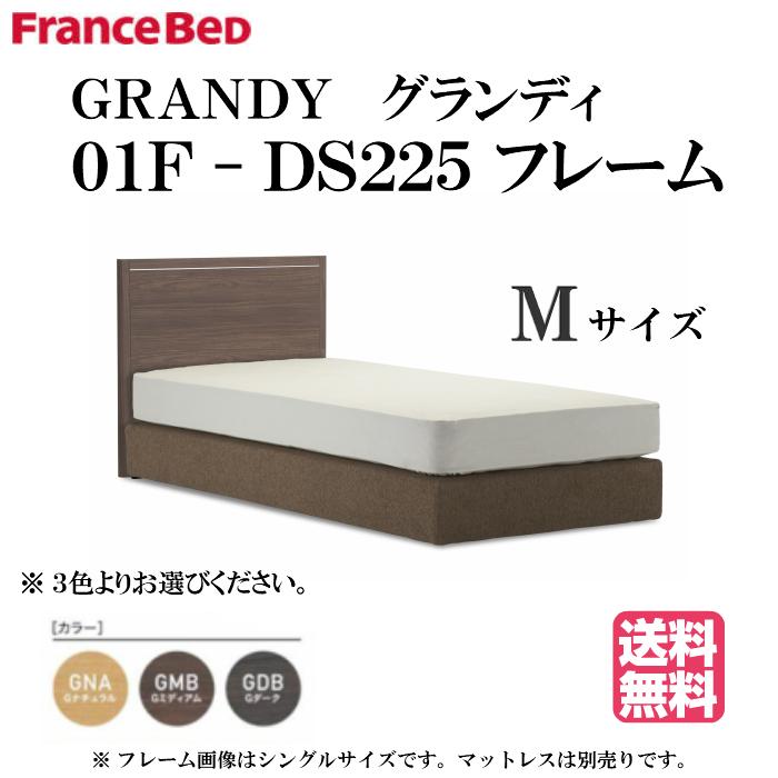 フランスベッド GRANDY 01F-DS225 M セミダブルサイズ グランディ ダブルスプリングタイプ ボトムマットレス (マットレス別売り)シルバーライン入りシンプルヘッドボード カラー3色 日本製 【送料無料】
