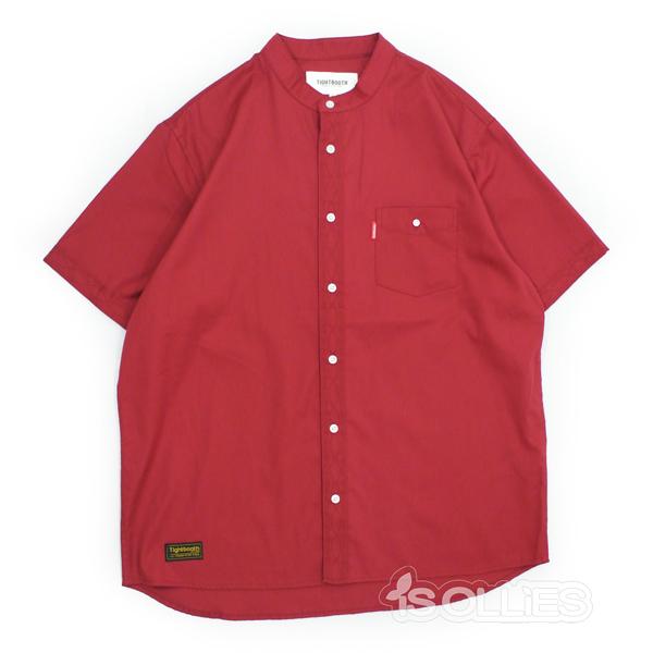TBPR(タイトブース)BAND COLLAR SHIRT(バンドカラー)(シャツ)RED(赤)