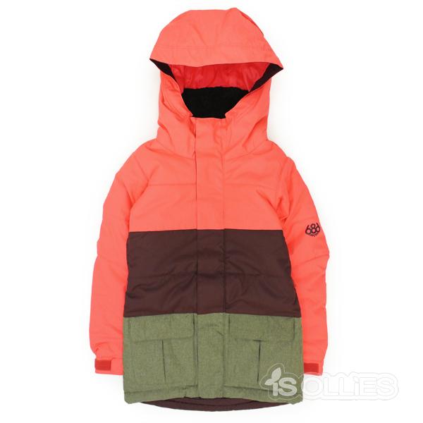 686(sixeightsix)GIRL'S POLLYINSULATED JACKETELECTRIC POPPYCOLORBLOCK(snowboard)(kids)(キッズ)(ガールズ)(子供用)(女の子用)(ジャケット)(雪)(スノーボード)(スノボ)(ウェアー)(wear)Sサイズ
