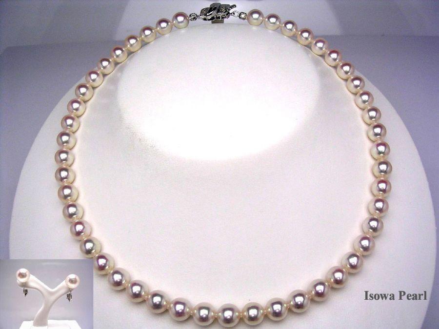 真珠 ネックレス パール 花珠 アコヤ真珠 イヤリング セット 8-8.5mm ホワイトピンク K14 ホワイトゴールド クラスップ 31083 イソワパール