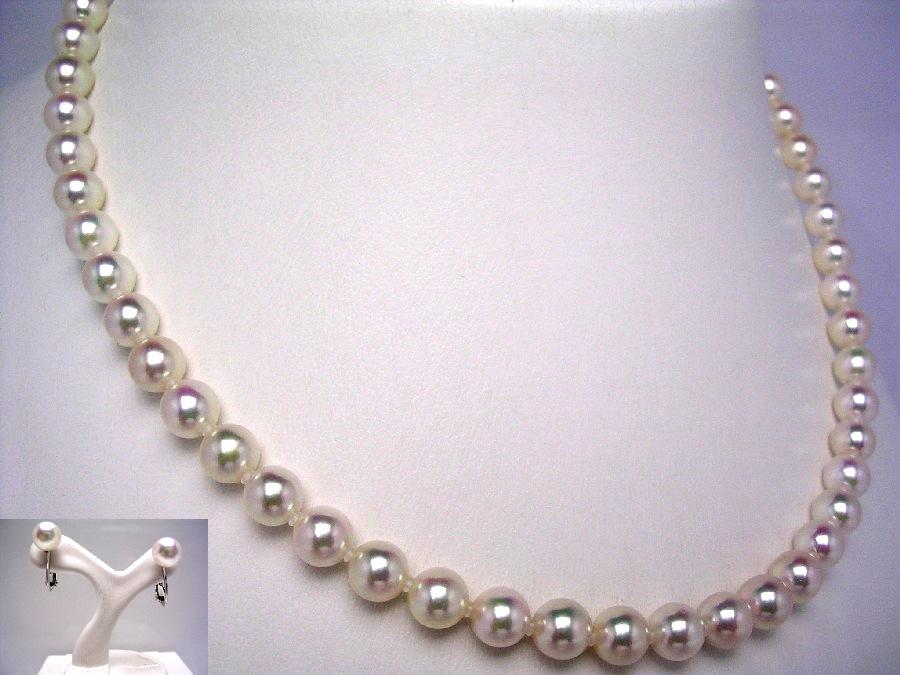 【10%OFF】54,000円 → 48,600円】真珠 ネックレス パール アコヤ真珠 イヤリング セット 6.5-7.0mm ホワイトピンク シルバー クラスップ 41065 イソワパール