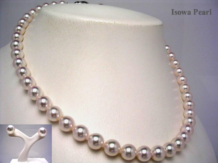真珠 ネックレス パール 花珠 アコヤ真珠 イヤリング セット 8-8.5mm ホワイトピンク シルバー クラスップ 44165 イソワパール