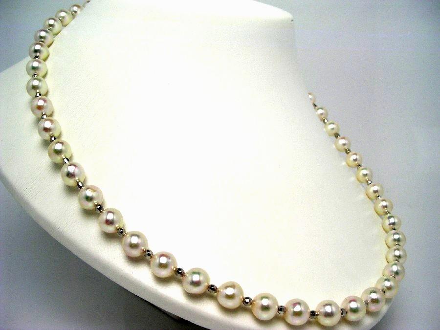 真珠 ネックレス パール アコヤ真珠 セミロング 8.5-9mm ホワイトピンク シルバー クラスップ 48367 イソワパール