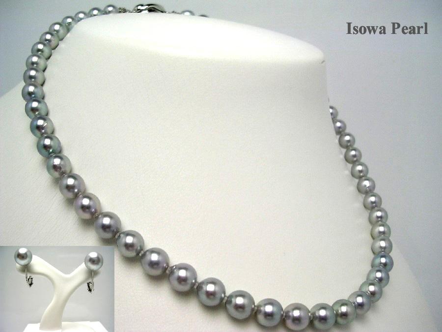真珠 ネックレス パール 母の日 アコヤ真珠 イヤリング セット 7.0-7.5mm シルバーブルー シルバー クラスップ 48829 イソワパール