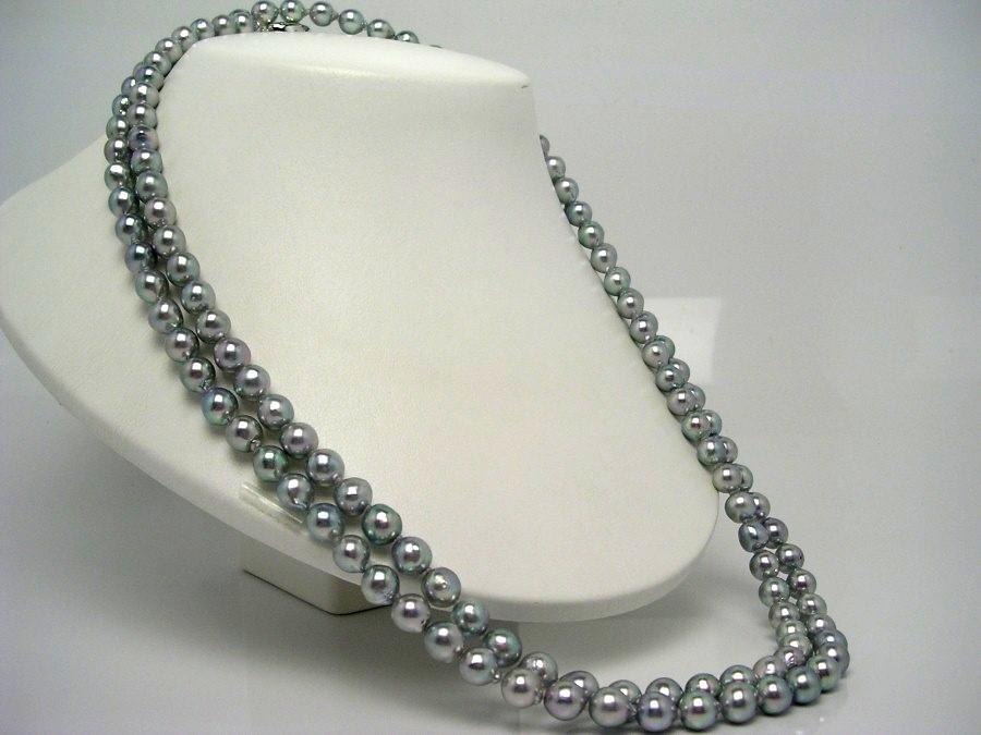 真珠 ネックレス パール アコヤ真珠 ロング 7.5-8.0mm シルバーブルー シルバー クラスップ 51870 イソワパール