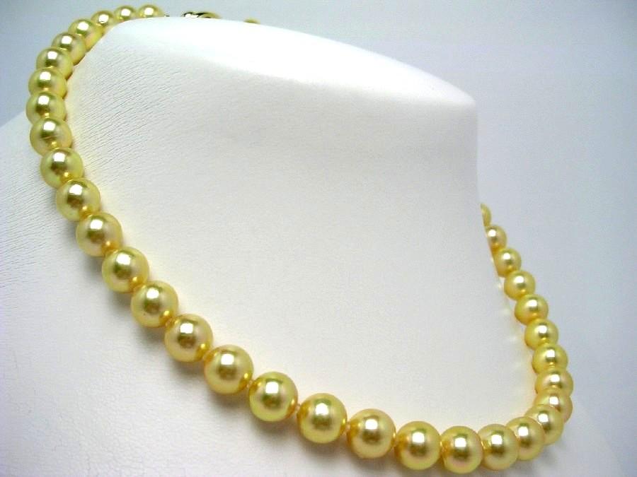 真珠 ネックレス パール アコヤ真珠 8.5-9.0mm ゴールド(染め) シルバー クラスップ 56018 イソワパール