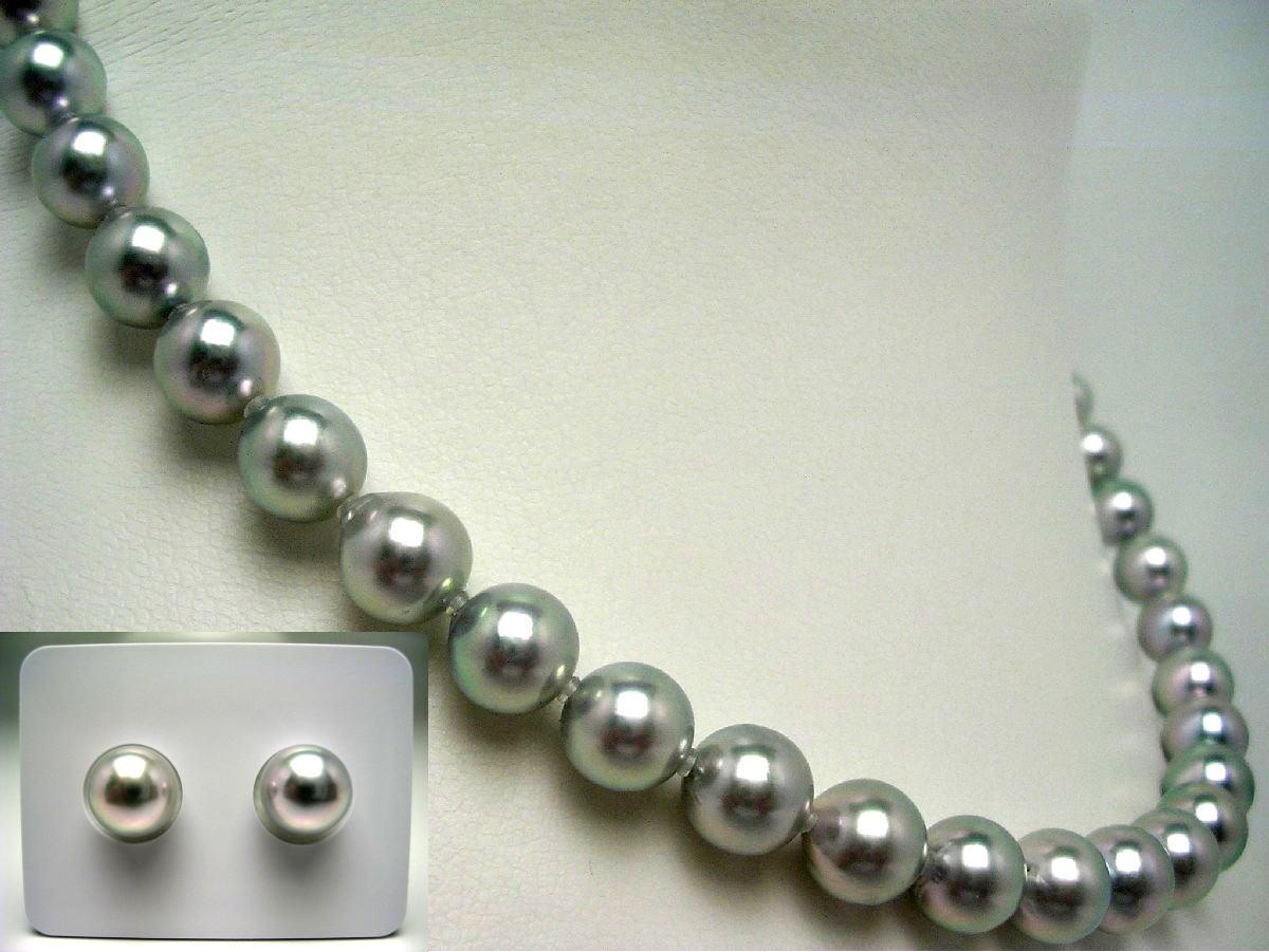 真珠 ネックレス パール アコヤ真珠 イヤリング or ピアス セット 8.0-8.5mm ホワイトシルバーブルー シルバー クラスップ 56928 イソワパール